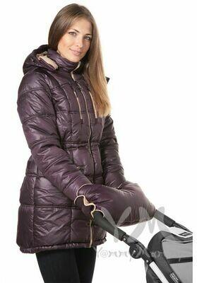 Y@mmy Mammy. Универсальная зимняя куртка 3 в 1 баклажан/песочный флис