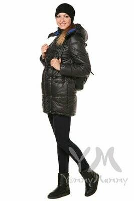 Y@mmy Mammy. Универсальная зимняя куртка 3 в 1 черный/ультрамарин,  флис