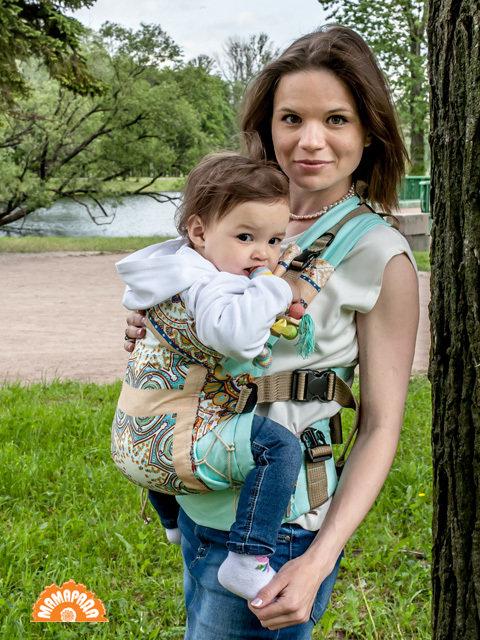 "МАМАРАДА. Эрго-рюкзак ""Этно св. бирюза"", размер 42-52"