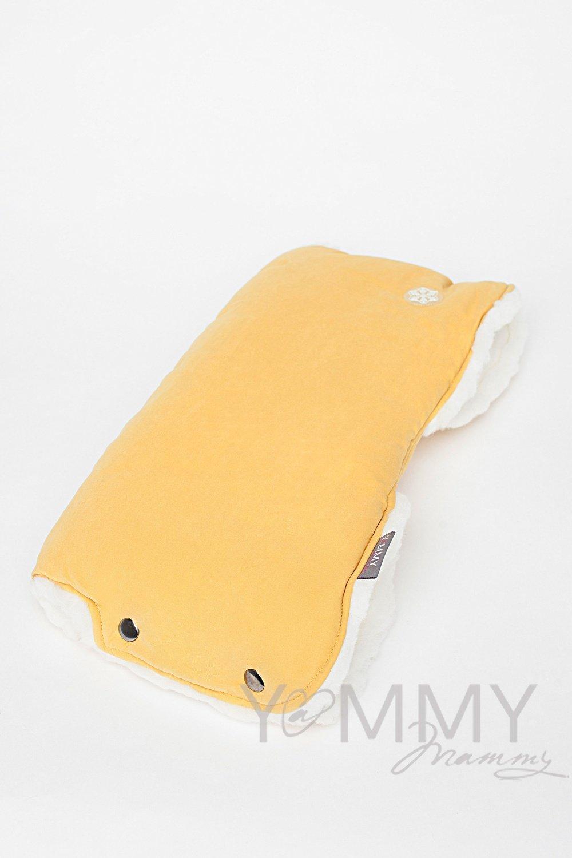 Муфта на коляску mustard /молочный мех