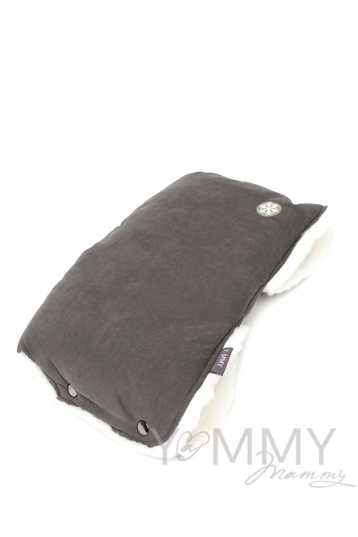 Муфта на коляску темно-серый /молочный мех