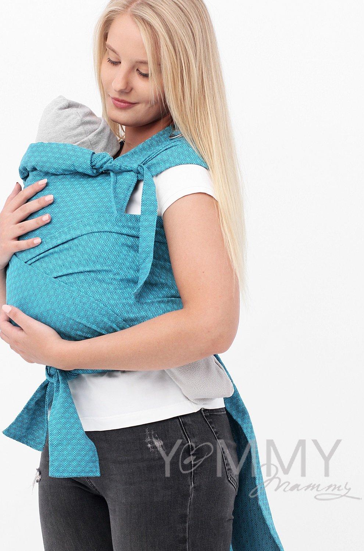 Y@mmy Mammy. Май слинг из шарфовой ткани Blue Biryuza (бирюзовый/темно-серый)