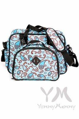 Мамина сумка Double bag (2в1) голубая/принт