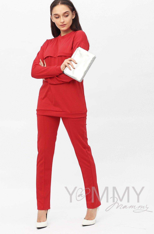 Костюм из плотной вискозы алый: джемпер+брюки