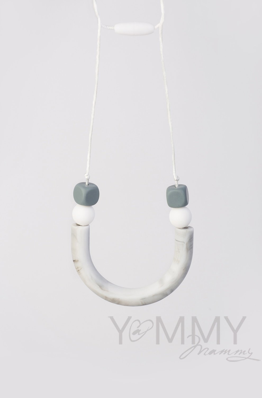 Yammy Mammy. Бусы силиконовые мрамор/белый /серый