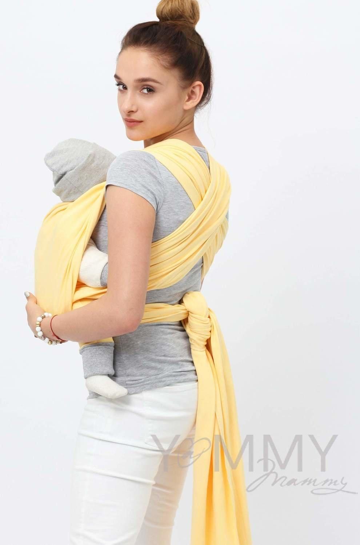 Трикотажный слинг светло-желтый