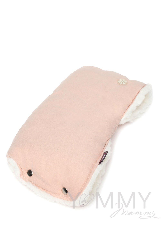 Муфта на коляску пудрово-розовая /молочный мех