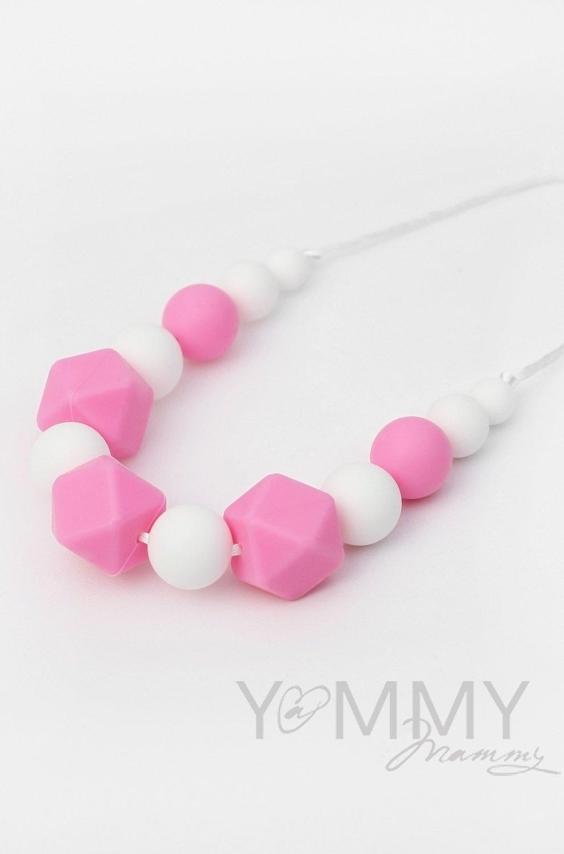 Yammy Mammy. Бусы силиконовые розовый/белый
