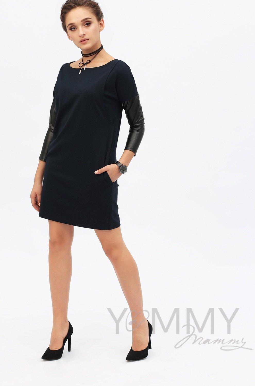 Y@mmy Mammy. Платье-туника с рукавами из экокожи темно-синий