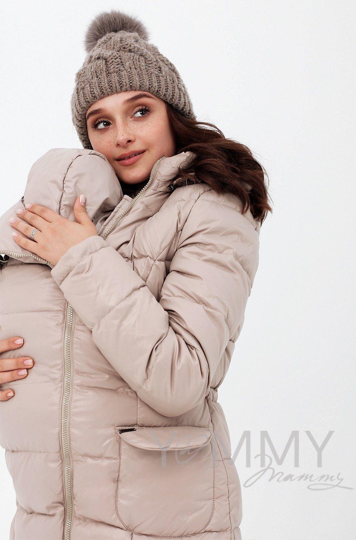 Y@mmy Mammy. Зимнее пуховое пальто 3 в 1 со вставкой , цвет бежевый, размер 44 и 46