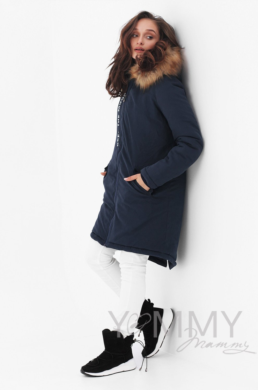 Y@mmy Mammy. Парка 3 в 1 с принтом и мехом,  цвет темно-синий