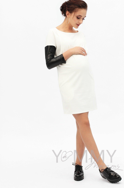Y@mmy Mammy. Платье-туника с рукавами из экокожи экрю