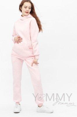 Yammy Mammy. Костюм с начесом розовый меланж и принтом на рукаве: толстовка + брюки