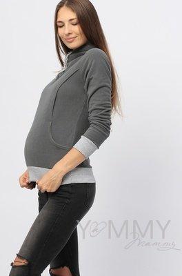 Y@mmy Mammy. Толстовка флисовая с завязками темно-серая, размер 42