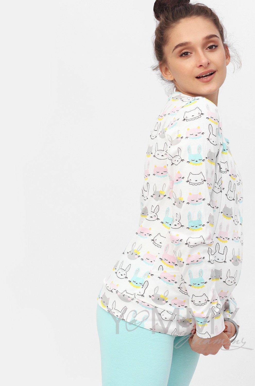 """Y@mmy Mammy. Костюм ментоловые брюки + джемпер белый/принт """"зайчики/котики"""", размер 42"""