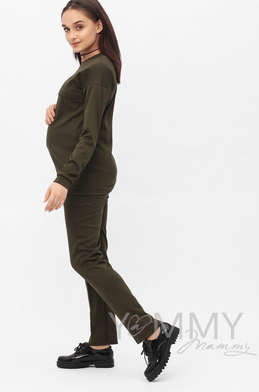 Y@mmy Mammy. Костюм из плотной вискозы хаки: джемпер+брюки, размер 42