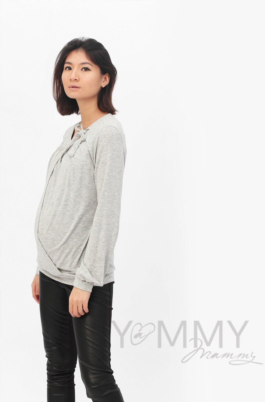 Y@mmy Mammy. Блуза для беременных и кормящих с бантом, цвет светло-серый меланж