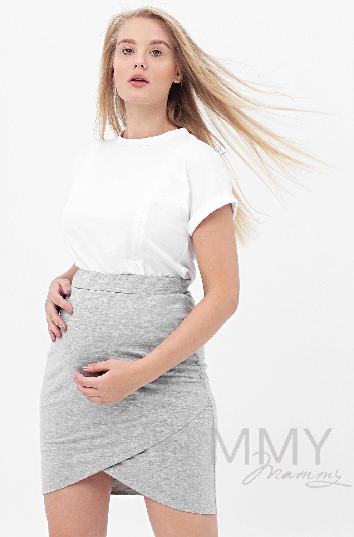 Y@mmy Mammy. Юбка универсальная из футера , цвет серый меланж