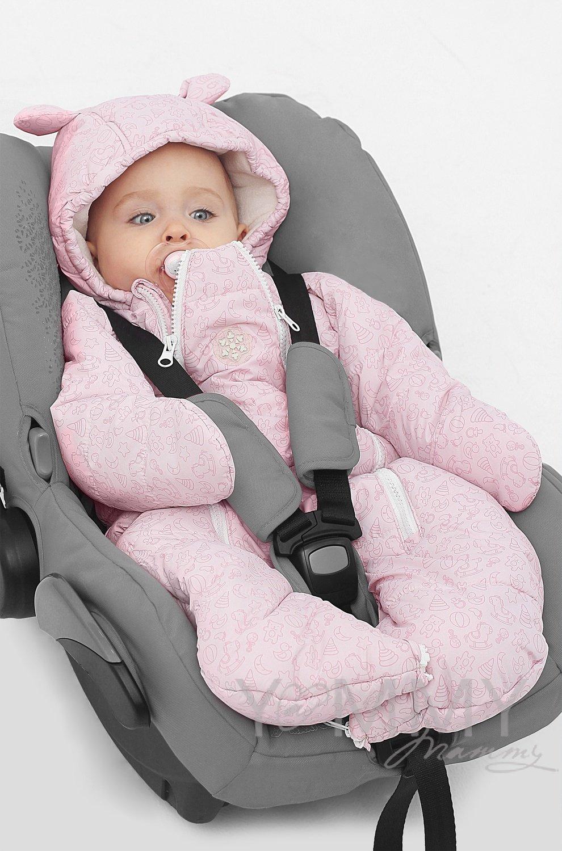 Зимний комбинезон-трансформер розовый/молочный флис, рост до 80 см