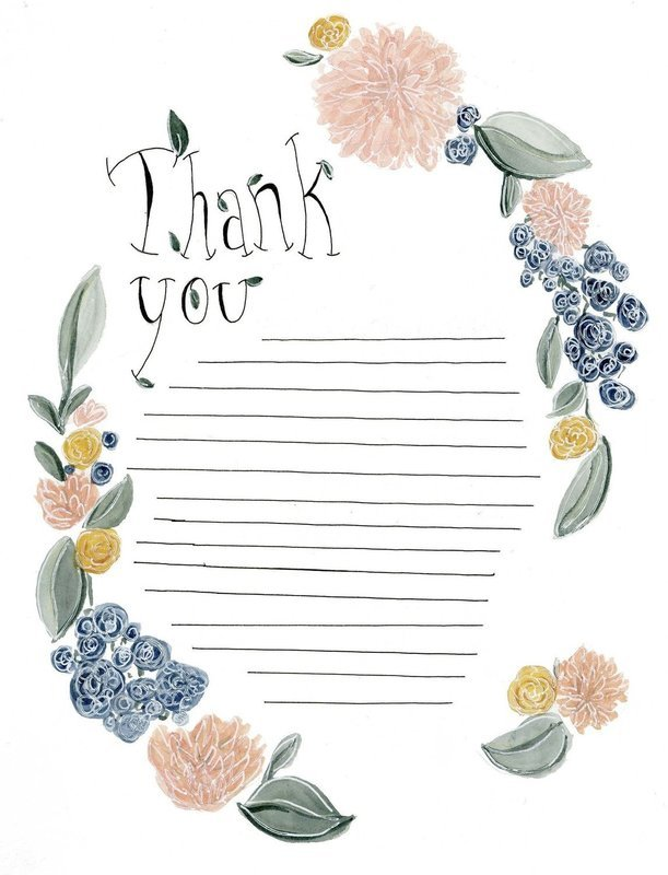 Thank You Notes, Pack of 5 with Envelopes