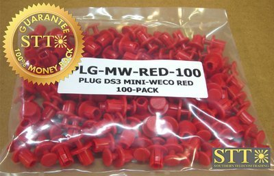 PLG-MW-RED-100 TELECT PLUG DS3 MINI-WECO RED 100-PACK REFURBISHED - 90 DAY WARRANTY