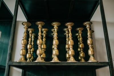 NIEUW! Gouden kandelaar voor kaars of bloemstuk