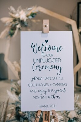 Huur bord unplugged wedding