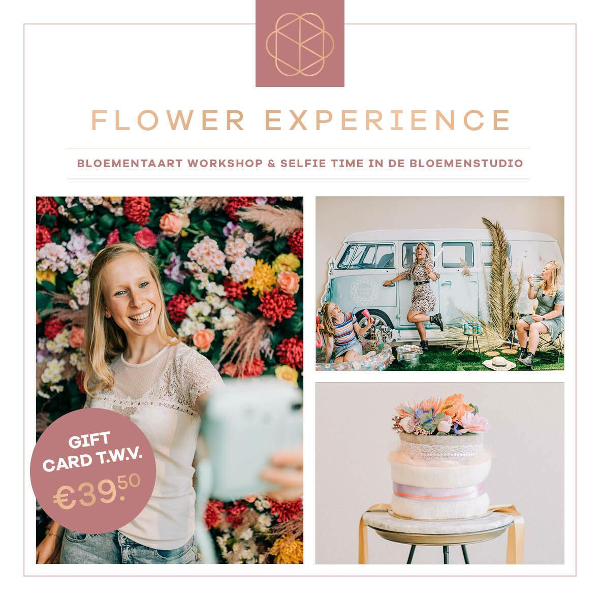 CADEAUBON Quarantaine Flower Experience: Flowercrown van droogbloemen of een bloementaart maken incl. selfie tijd met 5 unieke decors