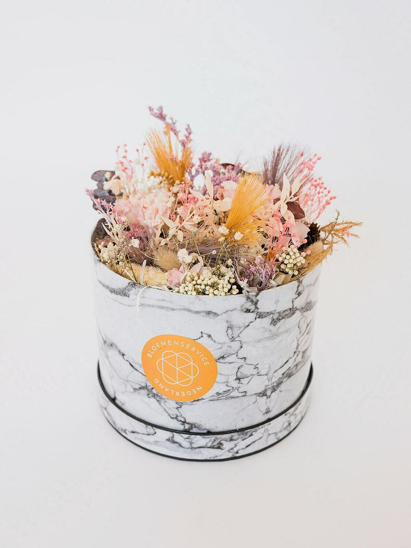 Droogbloemen marmer box Large met unieke kaart naar keuze
