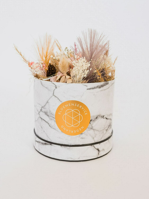 Droogbloemen marmer box Medium met unieke kaart naar keuze