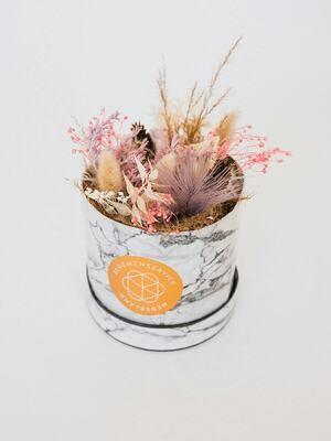 Droogbloemen marmer box Small met unieke kaart naar keuze
