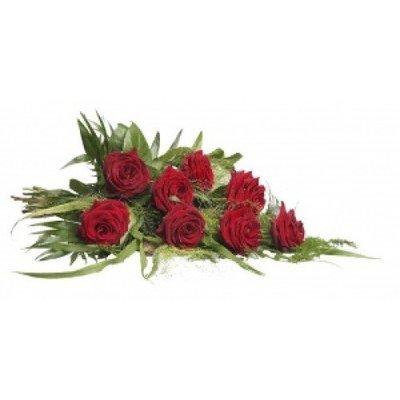 Rouwboeket eenvoudig met rode rozen