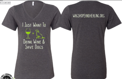 Drink Wine Save Dogs Women's V-Neck T-shirt