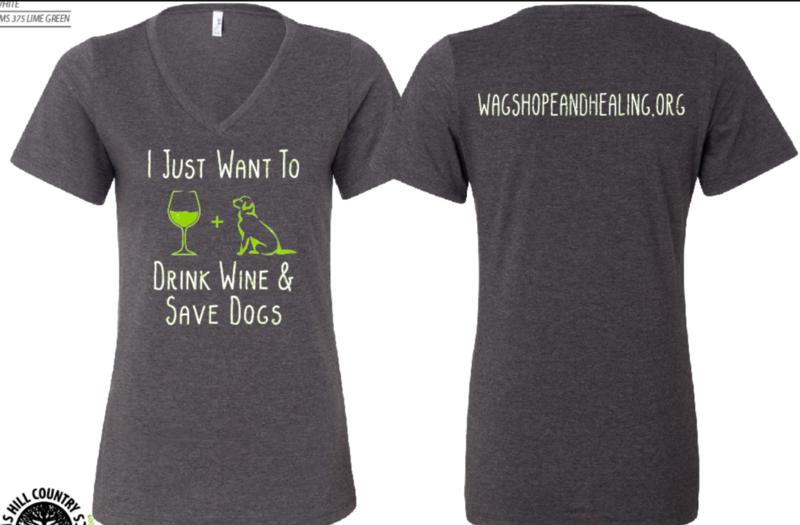 Drink Wine Save Dogs Women's V-Neck T-shirt