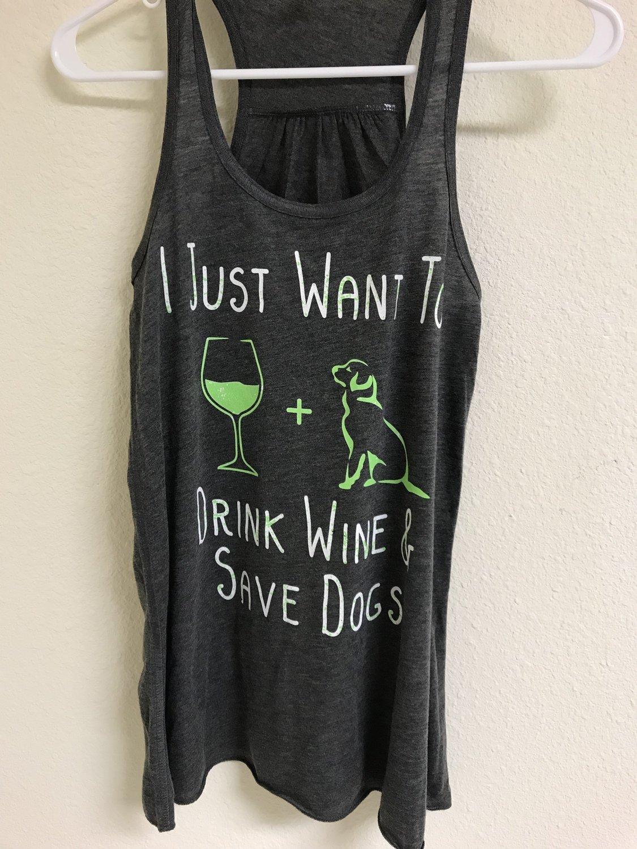 Women's Drink Wine & Rescue Dogs Flowy Tank Top