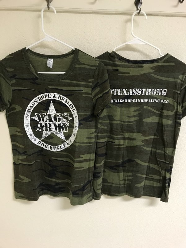 Women's Wags Army Camouflage Round Neck T-Shirt