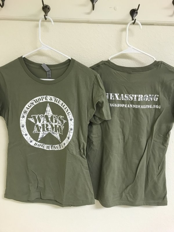 Women's Wags Army Round Neck T-Shirt Olive Green *Fitted Cut*