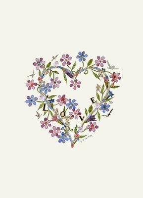 Love heart Blank greetings card