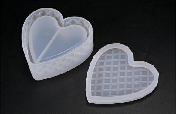 Heart Shaped Trinket box with lid Silicone Mold for Jewelry/ Gift/...Resin Casting