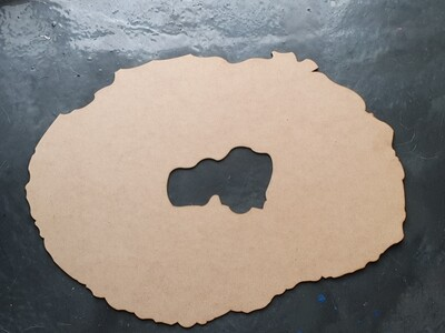 MDF GEODE SHAPED BOARD 35cm x 50cm with a cut out middle