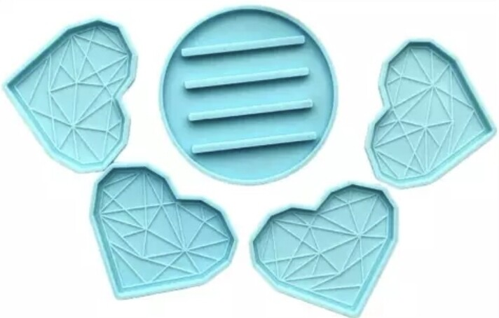 4 HEART COASTER AND HOLDER SET/   SILICONE MOLD