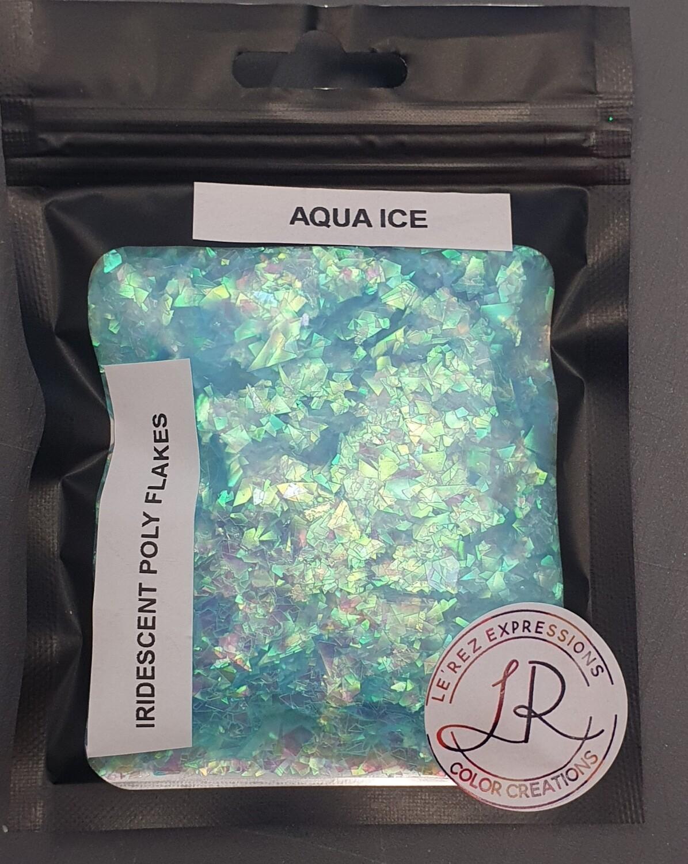 AQUA ICE Iridescent Polyester Flakes 10g window baggie