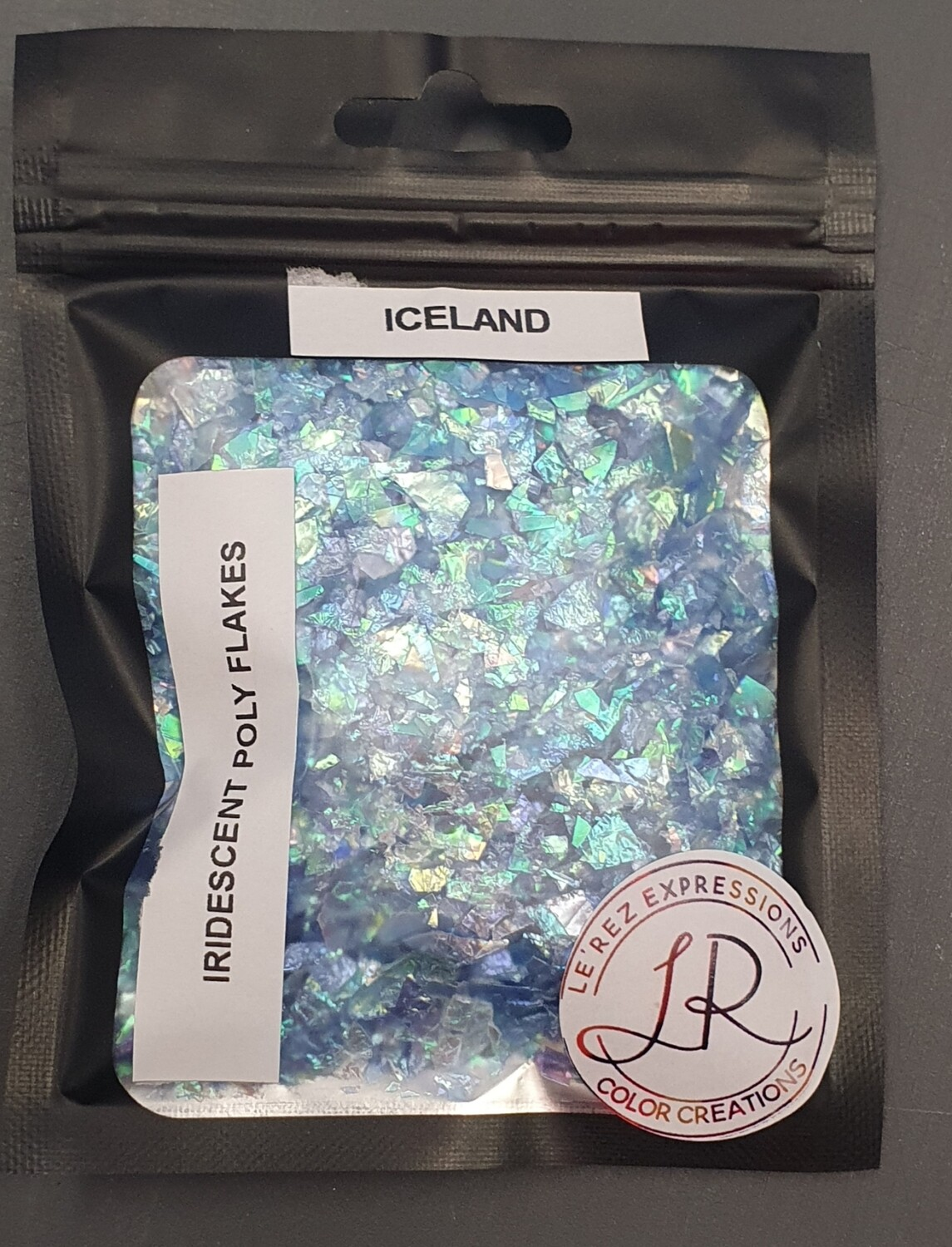 ICELAND BLUE Iridescent Polyester Flakes 10g window baggie