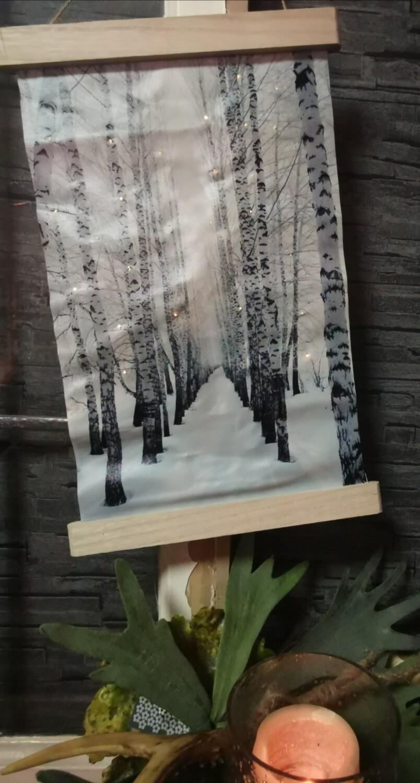 Wanddoek met led bomen