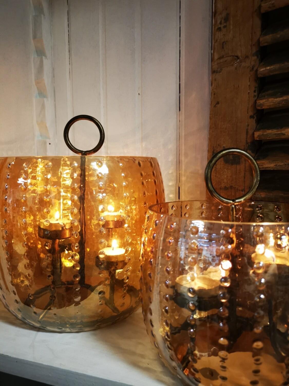 Glazen windlicht met waxinelichthouder 4