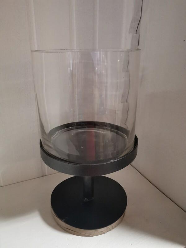 Windlicht industrieel met glas