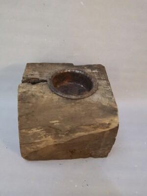 Theelichthouder houtblok