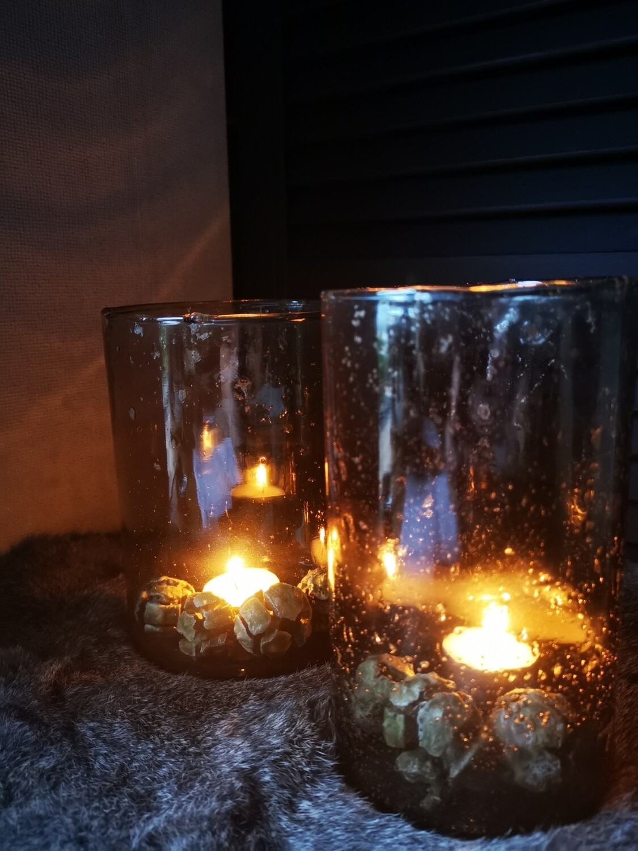 Steenslag windlicht getint glas L
