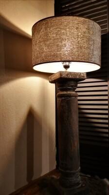 Balusterlamp incl grijze velvet kap