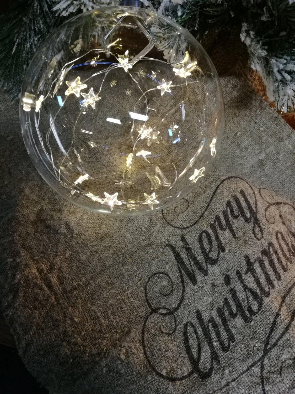 Glazen bal met led licht 16cm